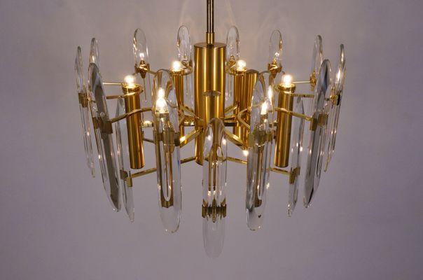Italian 9 Light Brass Crystal Chandelier by Gaetano Sciolari for – Italian Crystal Chandelier