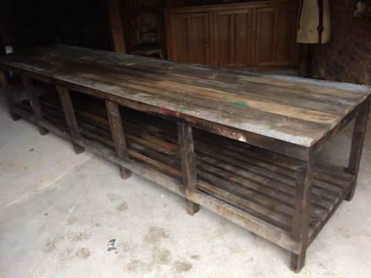 Industrial Large Rustic Dining and Artists Table 1920s for sale