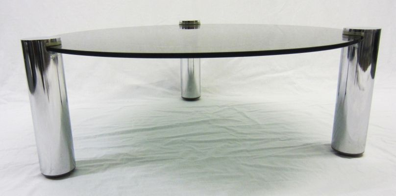 Round Glass And Chrome Coffee Table From Pieff, 1960s 3