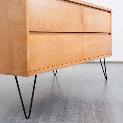 Ahorn Sideboard mit Haarnadelbeinen aus Metall von WK, 1960er bei ...