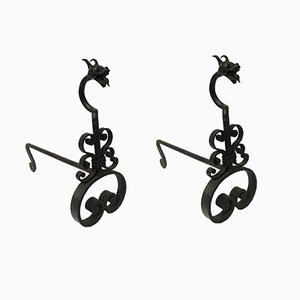 French Wrought Iron Andirons, 1900, Set of 2