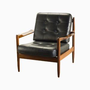 Lounge Armlehnstuhl aus Teak & Kunstleder von Grete Jalk für France & Søn