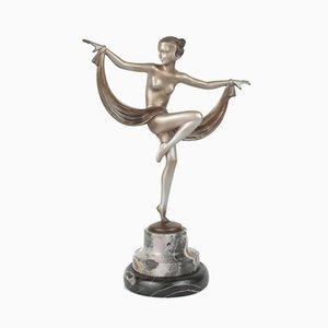 Figura Art Déco viennese in bronzo con base in marmo di Lorenzl, 1930