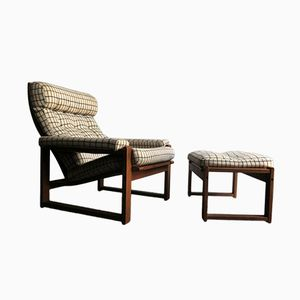 Danish Oak Easy Chair and Ottoman, 1950s