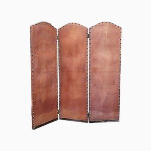Antique Portuguese Leather Folding Screen