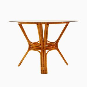 Italian Vintage Bamboo Table with Glass Top, 1970s