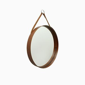 Teak Round Model 102 Mirror from Markaryd, 1960s