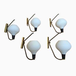 Italienische Mid-Century Wandlampen, 5er Set