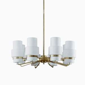 Vintage Swedish Brass & Frosted Glass Chandelier