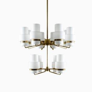 Large Mid-Century Swedish Brass & Opaline Glass Chandelier