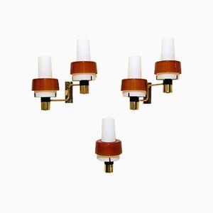 Italienische Wandlampen aus Messing von Stilnovo, 1960er, 3er Set