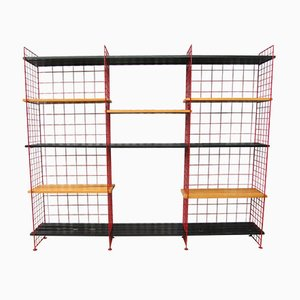 Dutch Modernist Red Wire Shelving Unit from Metz & Co., 1950s