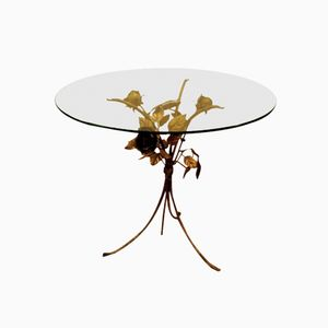 Glass Round Table with Brass Floral Base, 1970s