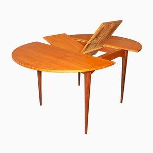 Mid-Century Circular Teak Extendable Dining Table, 1960s