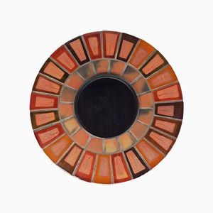 Round French Ceramic Mirror by Roger Capron, 1960s