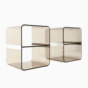 Italian Smoked Perspex Bedside Tables, 1970s, Set of 2