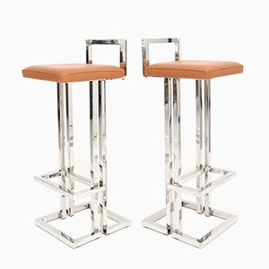 Brushed Metal and Leather Bar Stools from Maison Jansen, 1980s, Set of 8