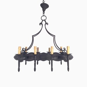 Wrought Iron Eight-Armed Chandelier, 1920s