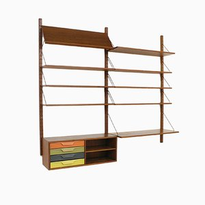Teak Brass and Metal Colored Shelving System by Albert Hansen