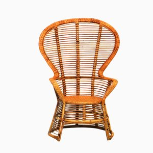 Vintage High Back Rattan Armchair from Bonacina