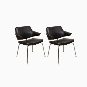 Schwarze Kunstleder Lehnstühle von Pierre Paulin für Thonet, 1960er, 2er Set