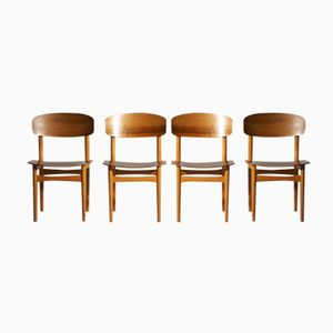 Model 122 Teak Dining Chairs by Børge Mogensen for Søborg, 1960s, Set of 4
