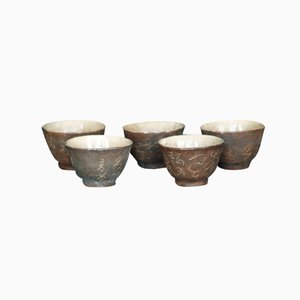 Tasses à Thé Yashima par Otagaki Rengetsu, Japon, 1880s, Set de 4