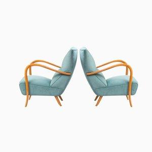 Vintage Blue Velvet Italian Armchairs, Set of 2