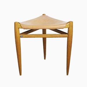 Schwedischer Hocker aus Holz & Leder von Uno & Östen Kristiansson für Luxus, 1950er