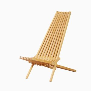 Vintage French Beech Slats Lounge Chair designed by Jean-claude Duboys