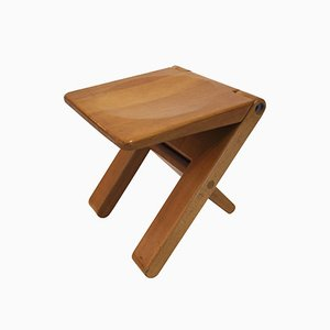 French Beech Folding Stool by Marcel Ramond for Form Design, 1970s