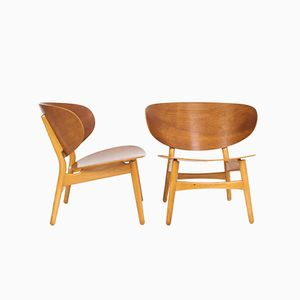 FH1936 Shell Chairs by Hans J. Wegner for Fritz Hansen, Set of 2