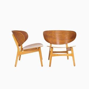 FH1936 Shell Chairs by Hans J. Wegner for Fritz Hansen, Set of 2