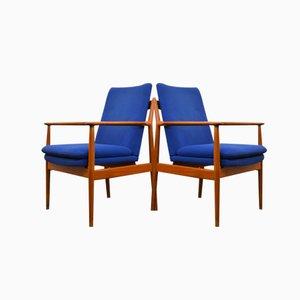 Modell 341 Teak Lounge Stühle von Arne Vodder für Sibast, 2er Set