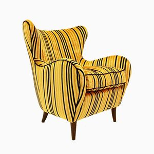 Italian Mid-Century Yellow Striped Velvet Armchair, 1950s