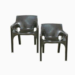 Dunkelbraune Gaudi Stühle von Vico Magistretti für Artemide, 2er Set