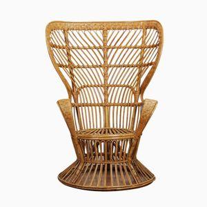 High Rattan Easy Chair by Gio Ponti for Vittorio Bonacina