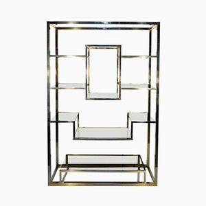 Vintage Brass Shelf / Room Divider by Romeo Rega