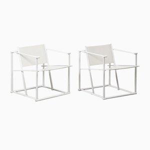 Dutch White FM62 Cube Chairs by Radboud Van Beekum for Pastoe, 1984, Set of 2
