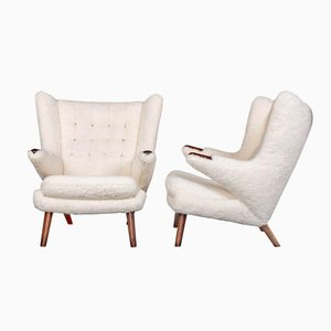 Sheepskin Papa Bear Chairs by Hans J. Wegner for AP Stolen, Set of 2