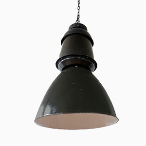 Grande Lampe à Suspension Industrielle Noire, 1950s