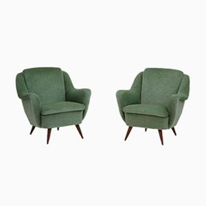 Vintage Green Velour Easy Chairs, Set of 2