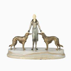 Figura Art Déco viennese in bronzo con base in marmo di Josef Lorenzl, 1930