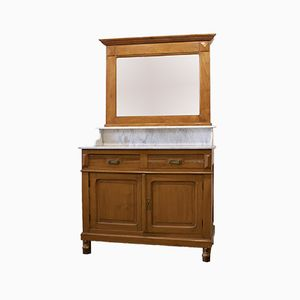 Vintage French White Marble Dressing Table