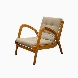 Czech Oak Wooden Armchair by Antonin Kropacek for Ceske Umelecke Dilny, 1950s