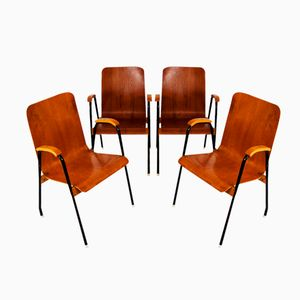 Swedish Teak and Lacquered Metal Chairs, 1960s, Set of 4