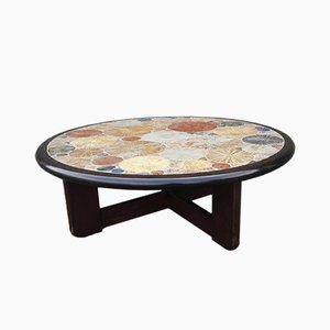 Danish Round Ceramic Tile Coffee Table by Tue Poulsen for Haslev Møbelsnedkeri, 1963