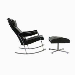 Rocking Chair en Cuir Noir avec Ottoman, 1960s