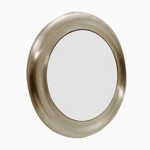 Italienischer Runder Spiegel mit Rahmen aus Gebürstetem Metall, 1970er