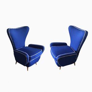 Geschwungene Blaue Sessel, 2er Set